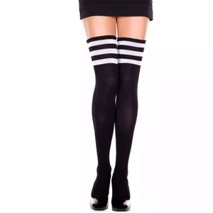 Accessories - Black white striped over the knee socks thigh high